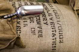 A huge bag of coffee beans