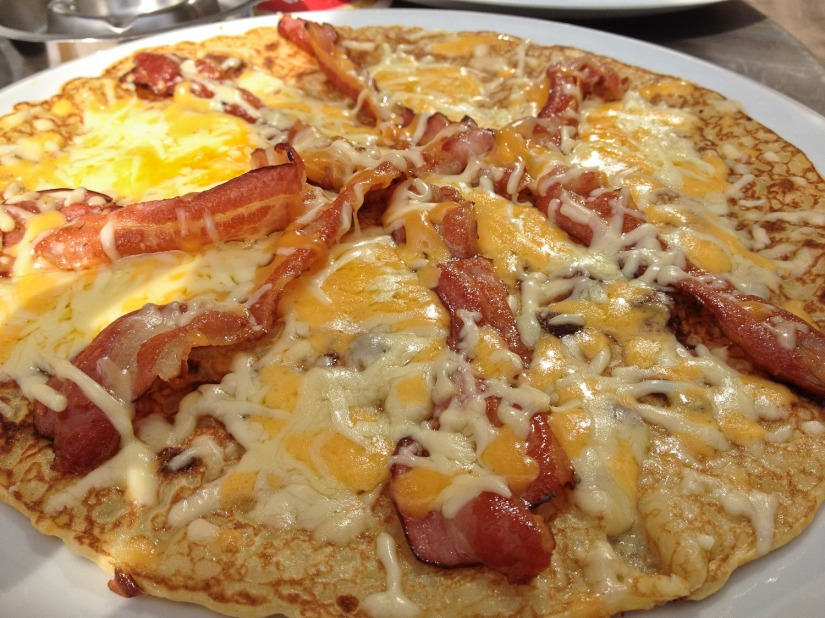 Dutch pancake with cheese and bacon
