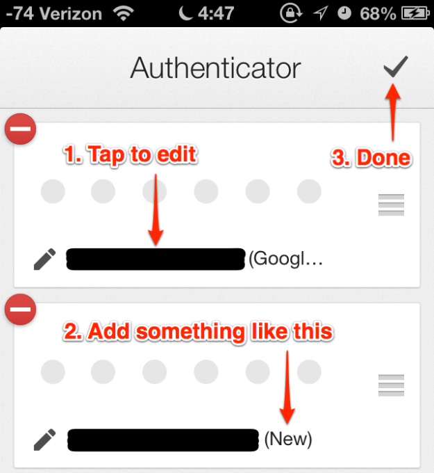 Google Authenticator 2.0.1 - Edit Step 2
