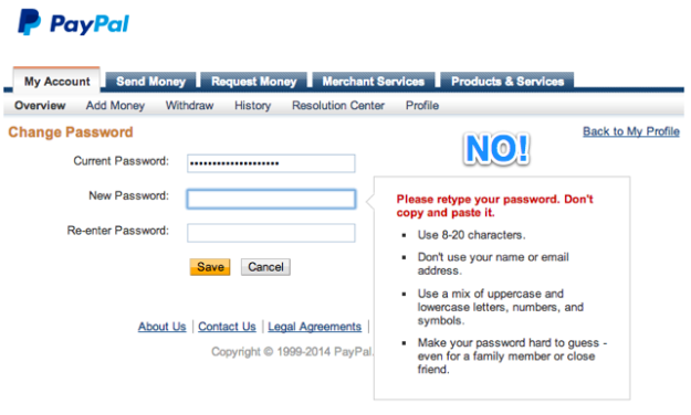 Screenshot: PayPal change password screen