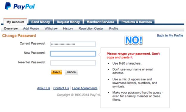 Screenshot: PayPal change password screen